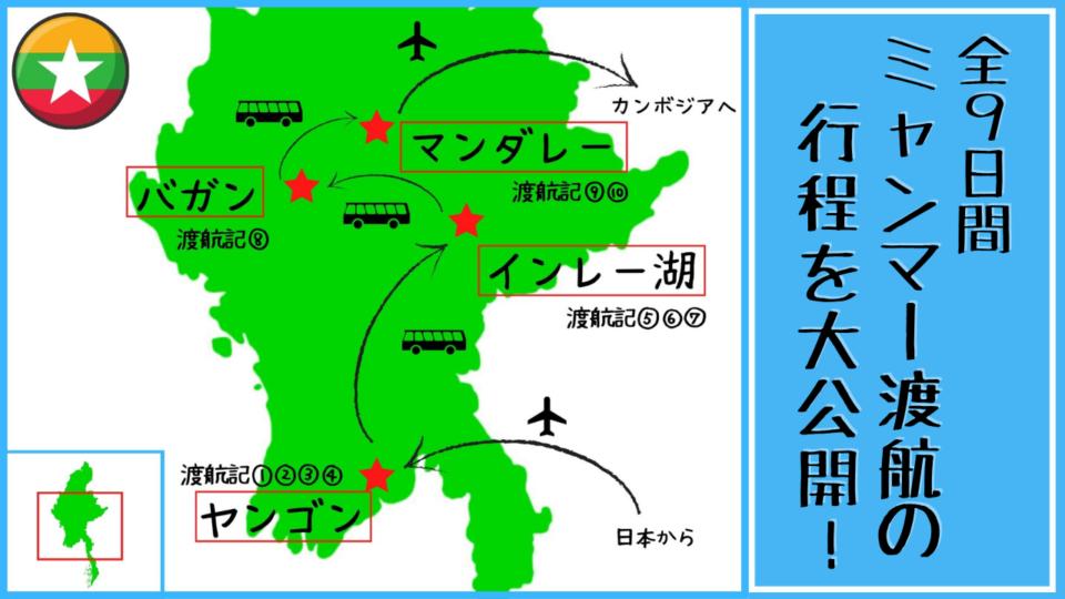 ミャンマー渡航記 行程